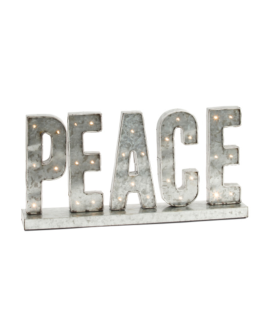 Metal Led Peace Sign - come over to my blog for lovely rustic metal decorating resources and Ideas for unfussy farmhouse style and tablescapes. In Case You Love Modern Rustic, Farmhouse, and Laid Back Casual Decor!