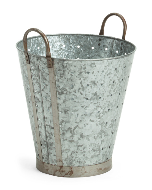 Galvanized Metal Olive Bucket- discover a host of lovely rustic decor in this round up of galvanized metal farmhouse style and vintage chic design splendor! #modernfarmhouse #rusticdecor