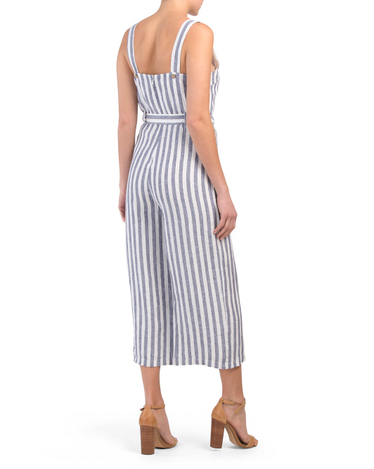 alternate image #1 of Linen Belted Jumpsuit