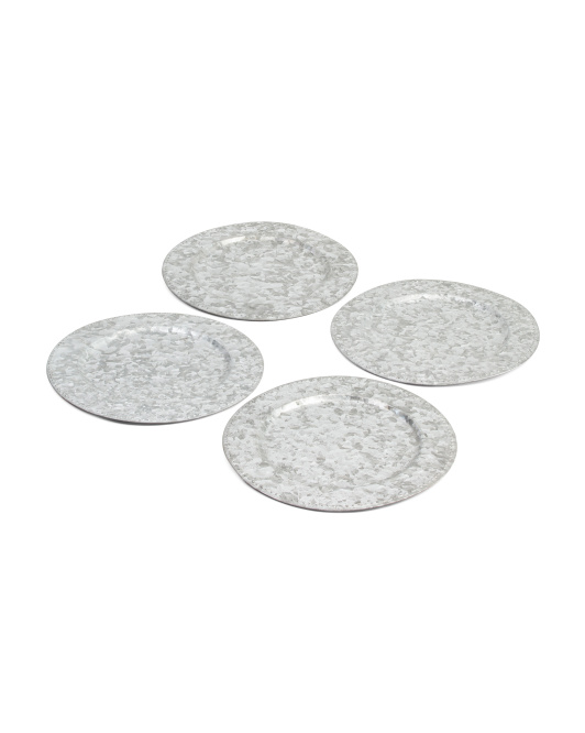 Set Of 4 Indoor Outdoor Galvanized Charger Plates - come over to my blog for lovely rustic metal decorating resources and Ideas for unfussy farmhouse style and tablescapes. In Case You Love Patriotic and casual Decor!