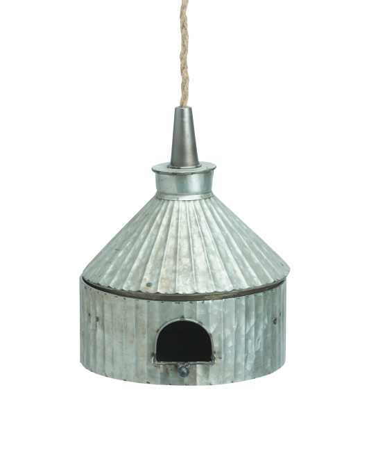 Galvanized Bird House- discover a host of lovely rustic decor in this round up of galvanized metal farmhouse style and vintage chic design splendor! #modernfarmhouse #rusticdecor
