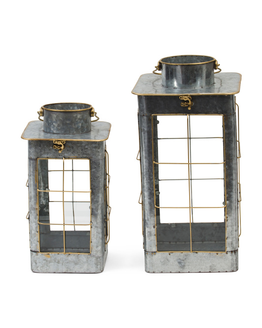 Set Of 2 Galvanized Lanterns With Steel Handle- discover a host of lovely rustic decor in this round up of farmhouse style and vintage chic design splendor! #modernfarmhouse #rusticdecor