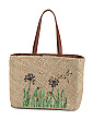 Woven Straw Tote With Woven Embroidery
