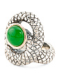 Handmade In Portugal 14k Sterling Silver Green Agate Ring