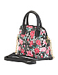 Darcie Floral And Snake Print Dome Satchel
