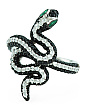 Sterling Silver Black And White Cz Snake Ring