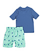 Boys 2pc Shark Rash Guard Swim Set