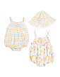 Newborn Girls 2pk Fruit Bubble Rompers With Sun Hat