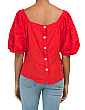 Made In Italy Linen Blend Eyelet Balloon Sleeve Blouse