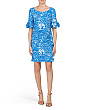 Printed Ruffle Sleeve Jersey Dress