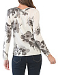 Crew Neck Floral Cashmere Pullover Sweater