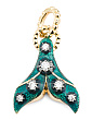 Made In Italy 18k Gold Diamond And Enamel Tail Fin Charm