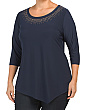Plus Asymmetrical Top With Detailed Neckline