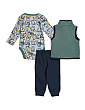 Newborn Boys 3pc Quilted Vest Bear Set
