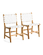 Set Of 2 Woven Leather Dining Chairs
