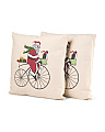 Set Of 2 16x16 Santa Motif Pillows
