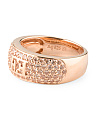 Rose Gold Plated Sterling Silver Champagne Logo Ring