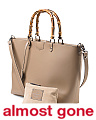 Made In Italy Leather Bamboo Handle Tote