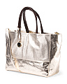 Made In Italy Leather Metallic East West Tote