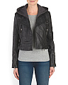 Leather Biker Jacket With Hoodie