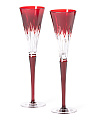 Set Of 2 Times Square Ruby Flutes