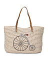 Bicycle Print Straw Tote