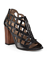 Made In Italy Leather Cage High Heel Sandal