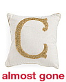 Made In India 16x16 Gold Beaded Initial Pillow