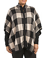Plus Plaid Poncho