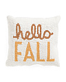 16x16 Hello Fall French Knot Pillow