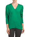 Silk Cashmere Double V Neck Dolman Sweater