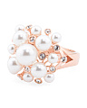 Made In Italy Rose Gold Plated Sterling Silver And Pearl Ring