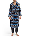 Printed Ribbed Micro Fleece Robe