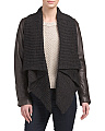 Leather Knit Drape Jacket