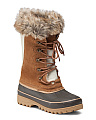 Leather Lace Up Duck Boot With Faux Fur Trim