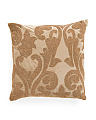 22x22 Made In India Velvet Embroidered Pillow