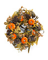 Pumpkin With Pine Cone Berries Wreath
