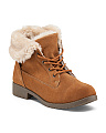 Lace Up Faux Fur Waterproof Cuff Boots