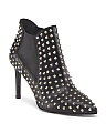 Made In Italy Leather Studded Pointed Toe Heel Bootie