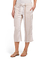 Linen Blend Striped Capri