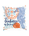 Made In India 16x16 Embroidered Seahorse Pillow