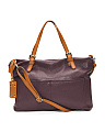 Made In Italy Leather Tote With Crossbody Strap