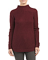 Juniors Curved Hem Pullover Sweater