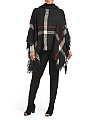 Plus Blanket Plaid Poncho