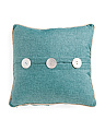 20x20 Faux Linen Button Pillow