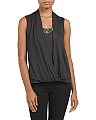 Beaded Draped Surplice Top