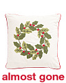 18x18 Embroidered Wreath Pillow