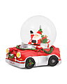 Light Up Driving Santa Snow Globe