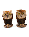 Set Of 2 Natural Owl Ornaments