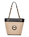 Straw Tote With Shell Detail